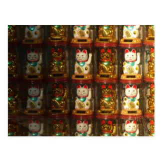 Carte Postale Maneki-neko, chat chanceux, Winkekatze