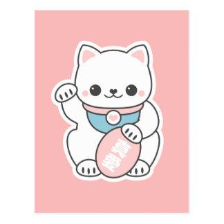 Carte Postale Maneki rose Neko