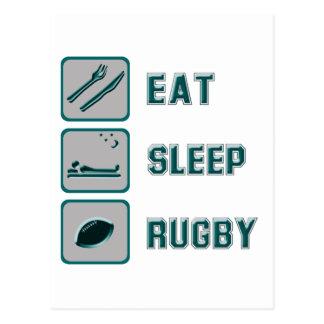 Carte Postale Mangez le rugby de sommeil