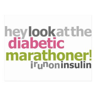Carte Postale Marathoner diabétique - je cours sur l'insuline