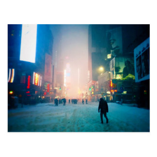 Carte Postale Marche pénible par la neige dans le Times Square