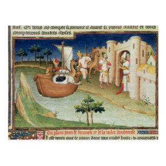 Carte Postale Marco Polo avec l'arrivée d'éléphants et de