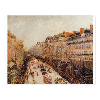 Carte Postale Mardi gras sur les boulevards par Camille Pissarro