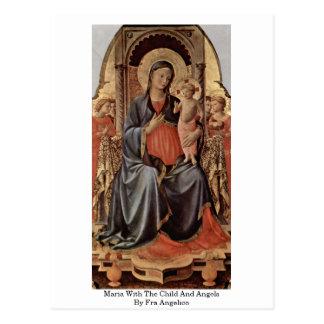 Carte Postale Maria avec l'enfant et anges par ATF Angelico