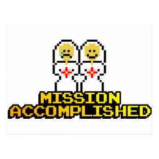 """Carte Postale Mariage accompli """"par mission"""" (lesbienne, à 8"""