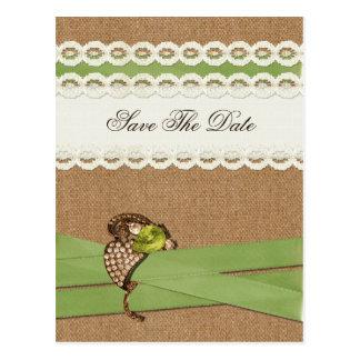 Carte Postale Mariage campagnard de toile de jute de FAUX et de