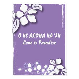 Carte Postale Mariage de plage pourpre romantique de fleur de