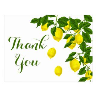 Carte Postale Mariage jaune d'agrume de vert de Merci de citron