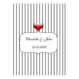 Carte Postale Mariage moderne de rayures noires et blanches