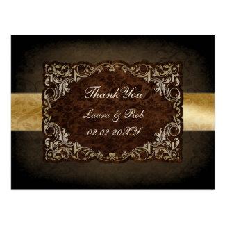 Carte Postale Mariage ornemental majestueux rustique de Brown et