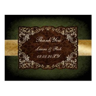 Carte Postale Mariage ornemental majestueux rustique de vert et