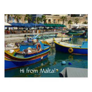 Carte Postale Marsaxlokk a peint des bateaux