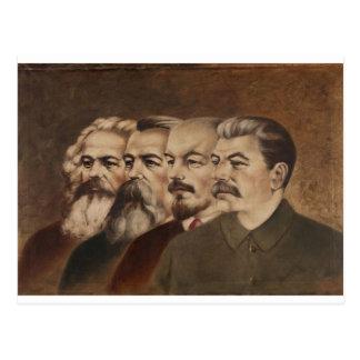 Carte Postale Marx, Engels, Lénine, et Stalin