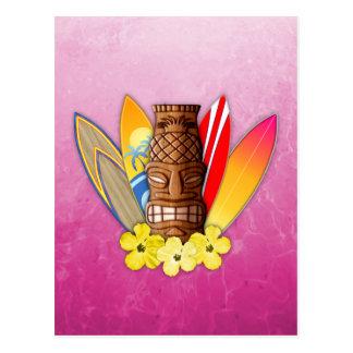 Carte Postale Masque et planches de surf de Tiki