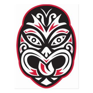 Carte Postale masque maori de tatouage de moko de tiki