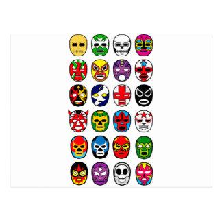 Carte Postale Masques de lutte mexicains de Lucha Libre Luchador