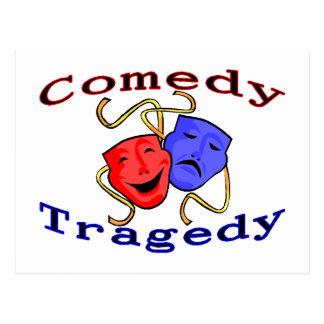Carte Postale Masques de théâtre de tragédie de comédie
