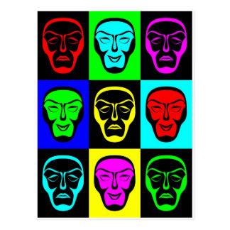 Carte Postale Masques de Theatrical de comédie et de tragédie