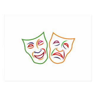 Carte Postale Masques de tragédie de comédie