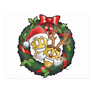 Carte Postale Masques drôles de Noël de comédie et de tragédie