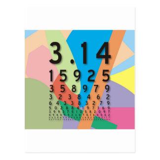Carte Postale Maths : la constante mathématique colorée de pi