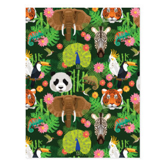 Carte Postale Mélange animal tropical
