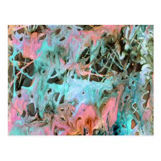 Carte Postale Menthe et rose de motif d'impression d'art