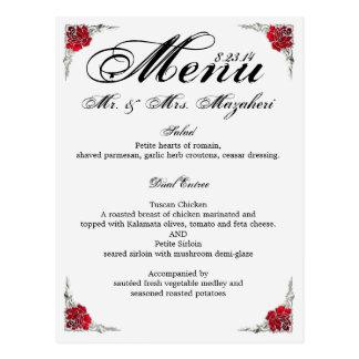 Carte Postale Menu Shalicia de dîner de mariage