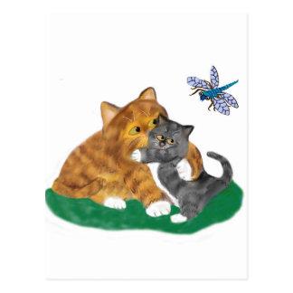 Carte Postale Meowmommy pleure chaton en voyant une libellule