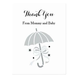 Carte Postale Merci de baby shower de parapluie gris mignon et