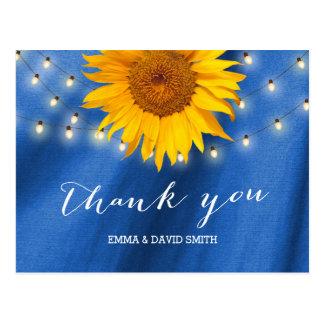 Carte Postale Merci de bleu de lumières de tournesol et de