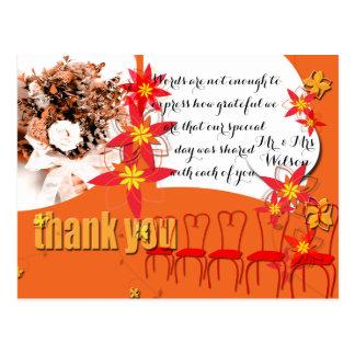 Carte Postale Merci de mariage d'éclat de mandarine