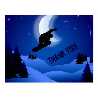 Carte Postale Merci de montagne et de lune de snowboarding de