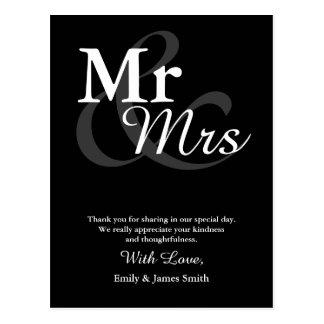 Carte Postale Merci élégant simple de mariage de typographie de