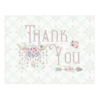 Carte Postale Merci floral tribal de menthe de rose de flèches