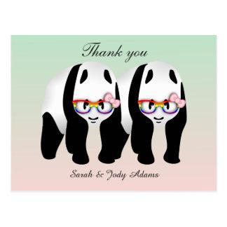 Carte Postale Merci lesbien mignon de pandas