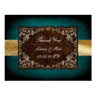Carte Postale Merci majestueux de mariage d'aqua rustique