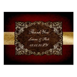 Carte Postale Merci majestueux rouge rustique de mariage