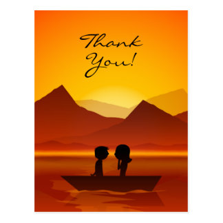 Carte Postale Merci mignon de montagne de canotage de couples de