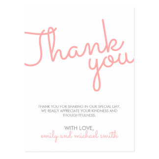 Carte Postale Merci moderne rose de mariage de typographie