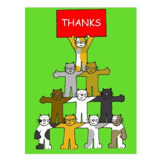 Carte Postale Merci pour le cadeau de Noël, chats de bande