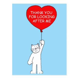 Carte Postale Merci pour s'occuper du chat