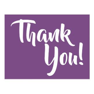 Carte Postale Merci pourpre et blanc violet de calligraphie