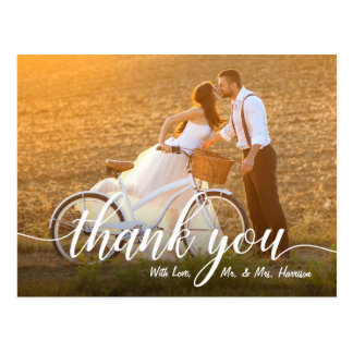 Carte Postale Merci romantique de photo de mariage