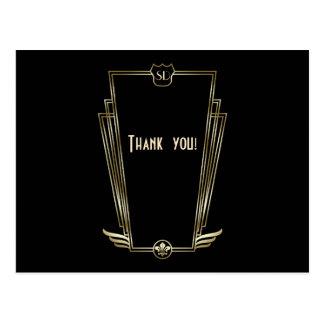 Carte Postale Merci royal de mariage de monogramme d'art déco
