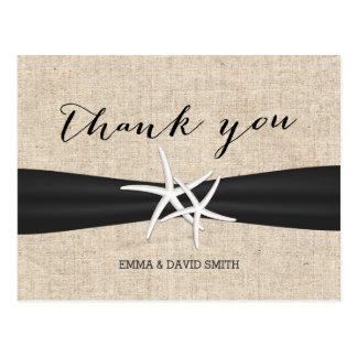 Carte Postale Merci rustique de ruban de noir d'étoiles de mer