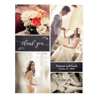 Carte Postale Merci rustique marqué à la craie de mariage de