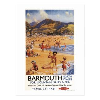 Carte Postale Mère et enfants British Rail de scène de plage