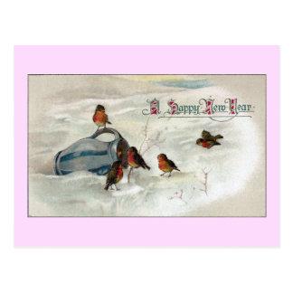 Carte Postale Merles et année vintage de broc nouvelle