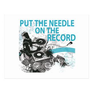 Carte Postale Mettez l'aiguille sur la rotation du DJ de disque